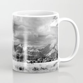 Horse and Grand Teton (Black and White) Coffee Mug