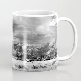 Horse and Grand Teton (Black and White) Coffee Mug
