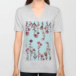 flowers on blue Unisex V-Neck
