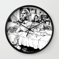 hobbes Wall Clocks featuring Chicle. by Samuel Guerrero