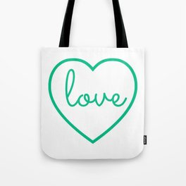 """Mint Green """"Love"""" Print / Charming / Home Decor / Office Decor / Craft Space Decor Tote Bag"""