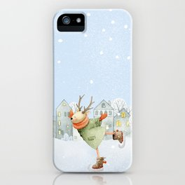Merry christmas - Ice skating Deer and squirrel are having Winter fun iPhone Case