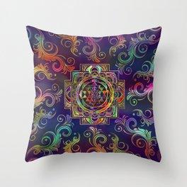 Colorful Gold framed Sri Yantra Sri Chakra Throw Pillow