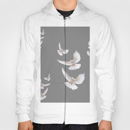 WHITE PEACE DOVES ON GREY COLOR DESIGN ART Hoody