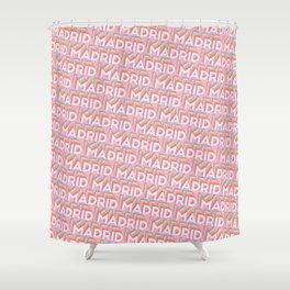 Madrid, Spain Trendy Rainbow Text Pattern (Pink) Shower Curtain
