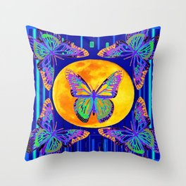 Contemporary Blue Moon Lace Butterflies Fantasy Abstract Throw Pillow