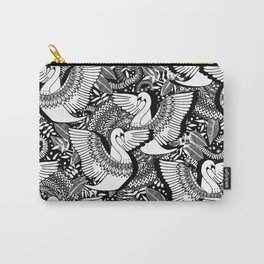 Stylish Swans in Monochrome Black and White Carry-All Pouch