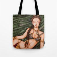 princess leia Tote Bags featuring Princess Leia by sika-chan