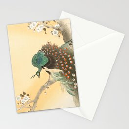 Peacock On A Cherry Tree - Vintage Japanese Woodblock Print Stationery Cards