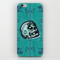 sarcasm iPhone & iPod Skins featuring Sarcasm skull on pillow by NENE W