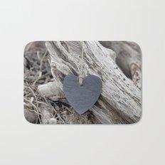 Beach Love Slate Heart on sea washed driftwood Bath Mat