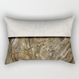 Cream Cement and Gnarled Wood Patterns Rectangular Pillow