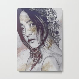 Stoic: Violet (japanese girl with mandalas) Metal Print