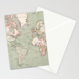 Vintage Map of The World (1915) Stationery Cards