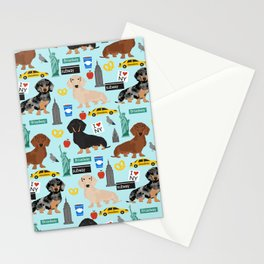 Dachshund dog breed NYC new york city pet pattern doxie coats dapple merle red black and tan Stationery Cards