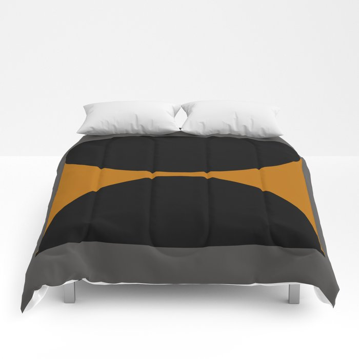 Black and Gray Gradient with Gold Squares and Half Circles Digital Illustration - Artwork Comforters