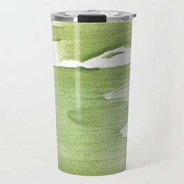 Green khaki clouded wash drawing texture Travel Mug