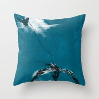 sewing Throw Pillows featuring sewing birds by frederic levy-hadida