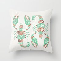 rose gold Throw Pillows featuring Scorpion – Mint & Rose Gold by Cat Coquillette