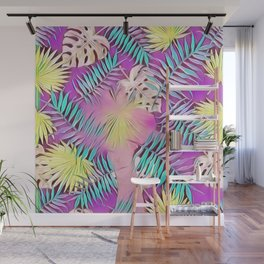 BIRD OF PARADISE Leaf Overlay #society6 #tropical Wall Mural