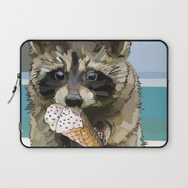 Raccoon Eating Ice-cream on the Beach | Summer Vacation | Cute Baby Animal Laptop Sleeve