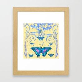 ORNATE BLUE BUTTERFLIES SCROLL DESIGNS  ART Framed Art Print