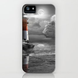 Lighthouse and Sailboat under moonlight iPhone Case