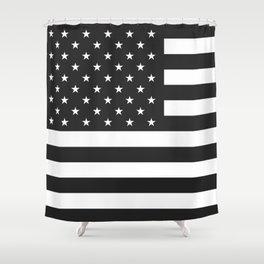 American Flag Stars and Stripes Black White Shower Curtain