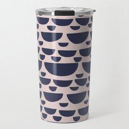 Half moon horizontal geometric print - Navy Travel Mug