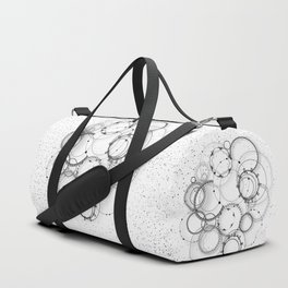 Steampunk abstract black and white geometric art Duffle Bag
