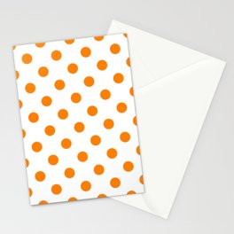 Polka Dots - Orange on White Stationery Cards