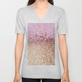 Mermaid Rose Gold Blush Glitter Unisex V-Neck