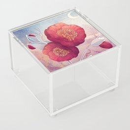 Christmas Roses :: Red Petals, Frosted Leaves Acrylic Box