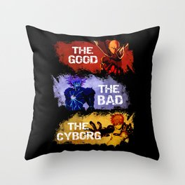 The Good The Bad The Cyborg - One Punch Man Throw Pillow