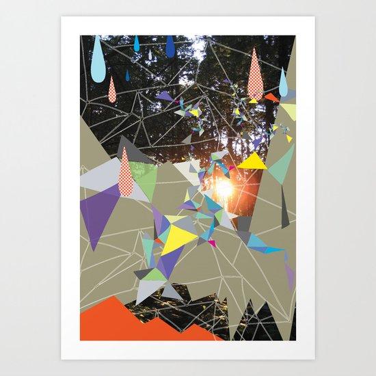 sun shining through forrest Art Print