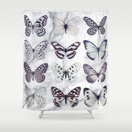 Black and white marble butterflies Shower Curtain