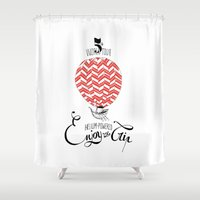 baloon Shower Curtains featuring Baloon by Pauline Midon
