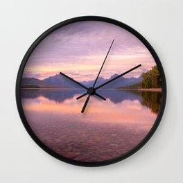 Lake Mcdonald Sunset Wall Clock