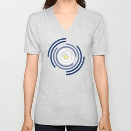Spin Cycle – Navy / Yellow / Blue Circle Pattern Unisex V-Neck