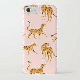 Leopard jaguar pink memphis pattern iPhone Case