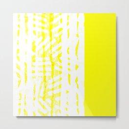 Abstract Art Yellow White Grunge Metal Print