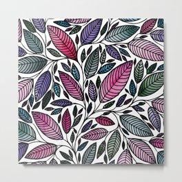 Botanical Floral Leaf Illustration Metal Print