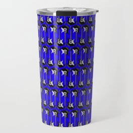 Guitars (Tiny Repeating Pattern on Blue) Travel Mug