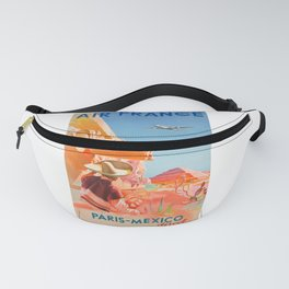 1952 AIR FRANCE Paris Mexico Direct Travel Poster Fanny Pack