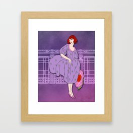 AUDREY: Art Deco Lady in Purple and Pink Framed Art Print