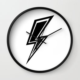 Lightning - Black and White Wall Clock