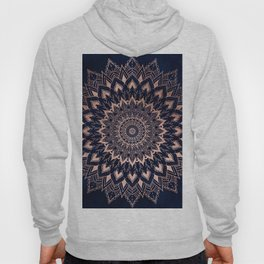 Boho rose gold floral mandala on navy blue watercolor Hoody