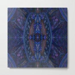 Paisley Flower Blue Metal Print