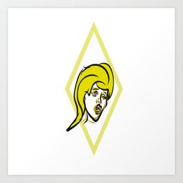 Yellow diamond pop art Art Print