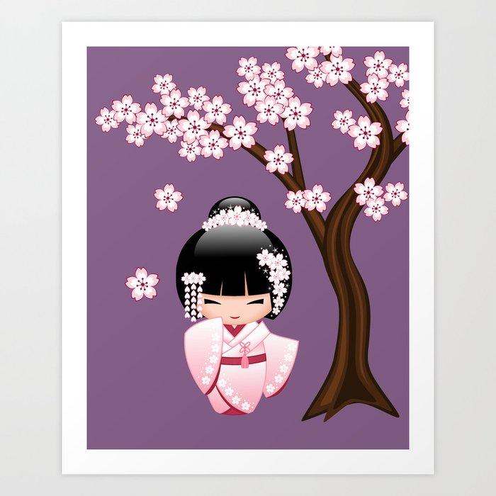 Japanese Bride Kokeshi Doll on Purple Kunstdrucke